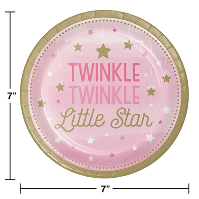 One Little Star Girl Dessert Plates, 8 ct Party Decoration
