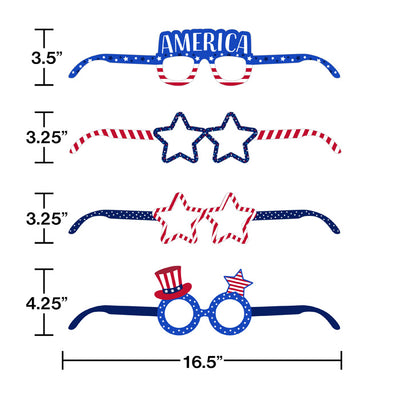 Patriotic Paper Glasses 4ct Party Decoration