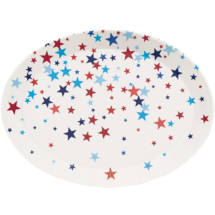 "14"" Oval Plastic Tray, Patriotic by Creative Converting"