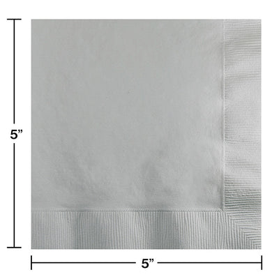 Shimmering Silver Beverage Napkin 2Ply, 50 ct Party Decoration