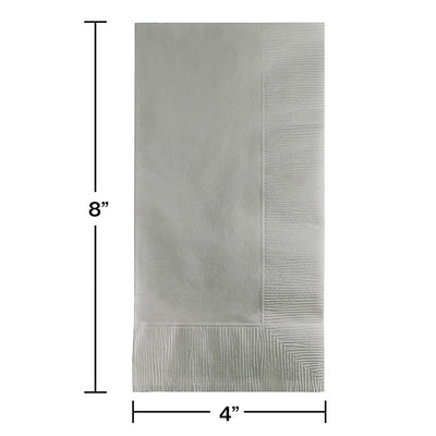 Shimmering Silver Dinner Napkins 2Ply 1/8Fld, 100 ct Party Decoration