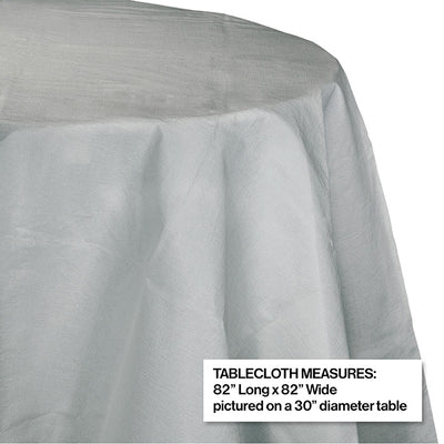 "Shimmering Silver Tablecover, Octy Round 82"" Polylined Tissue Party Decoration"