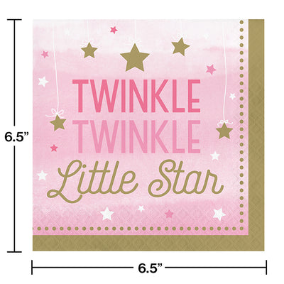 One Little Star Girl Napkins, 16 ct Party Decoration