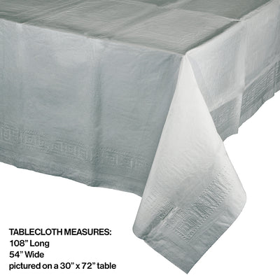 "Shimmering Silver Tablecover 54""X 108"" Polylined Tissue Party Decoration"