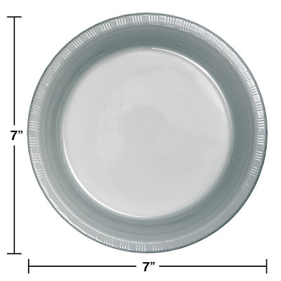 Shimmering Silver Plastic Dessert Plates, 20 ct Party Decoration