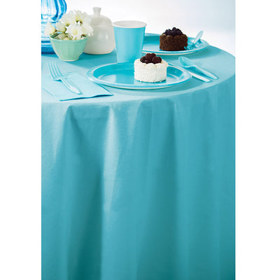 "Bermuda Blue Tablecover, Octy Round 82"" Polylined Tissue Party Supplies"