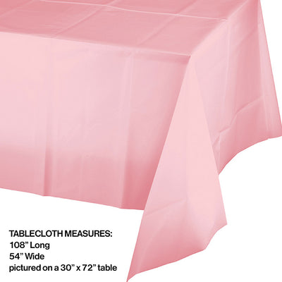 "Classic Pink Plastic Tablecover 54"" X 108"" Party Decoration"