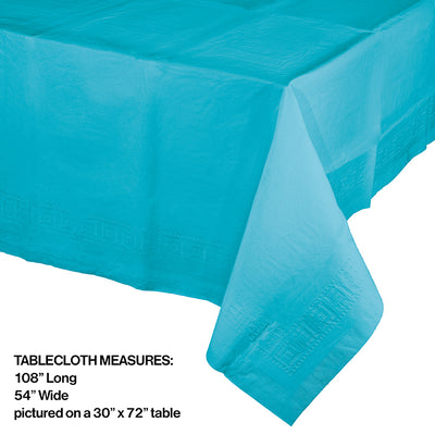 "Bermuda Blue Tablecover 54""X 108"" Polylined Tissue Party Decoration"