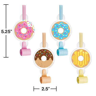 Donut Time Blowouts W/Med, 8 ct Party Decoration