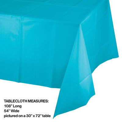 "Bermuda Blue Tablecover Plastic 54"" X 108"" Party Decoration"