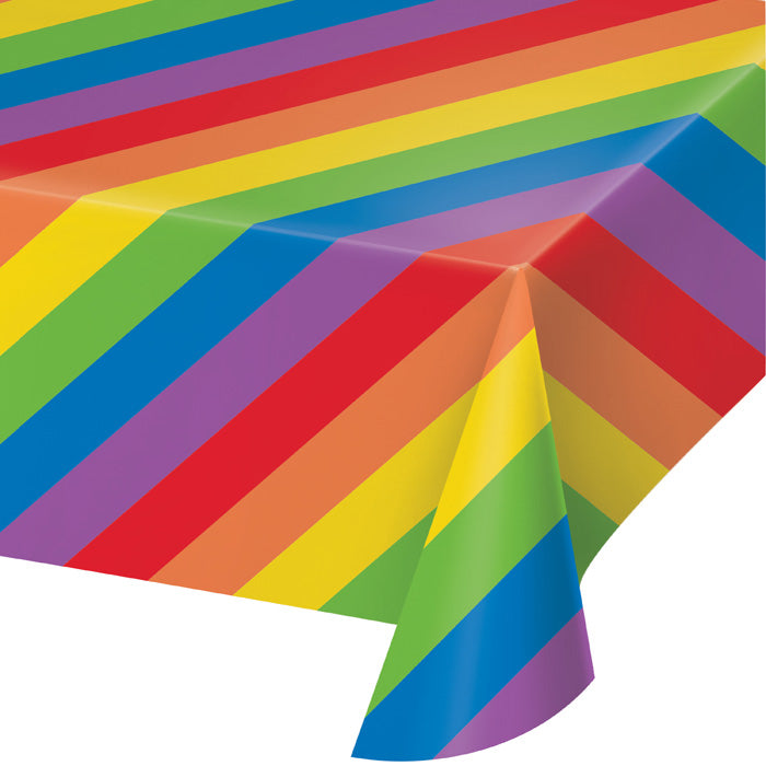 RAINBOW STRIPES PLASTIC TABLE COVER PARTY TABLEWARE