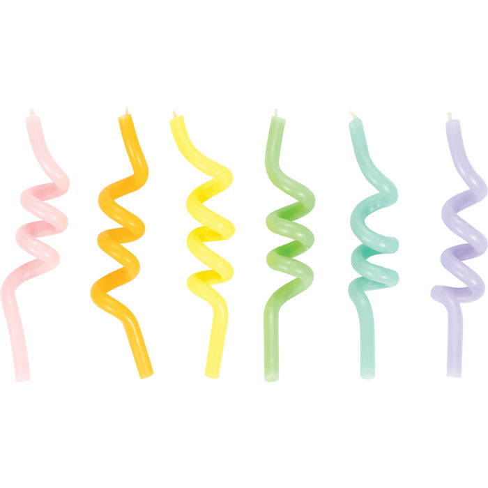 Curly Pastel Candles 6ct by Creative Converting