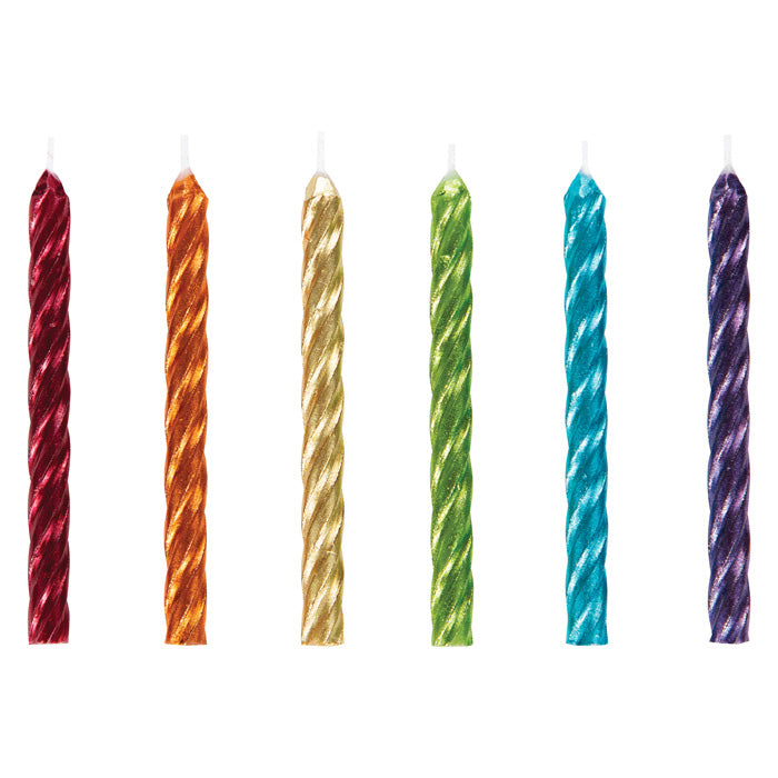 Spriral Rainbow Metallic Candles 24ct by Creative Converting