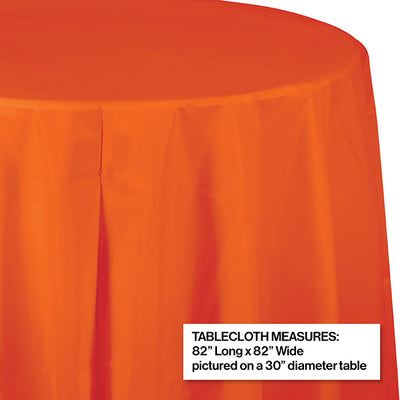 "Sunkissed Orange Tablecover, Octy Round 82"" Plastic Party Decoration"