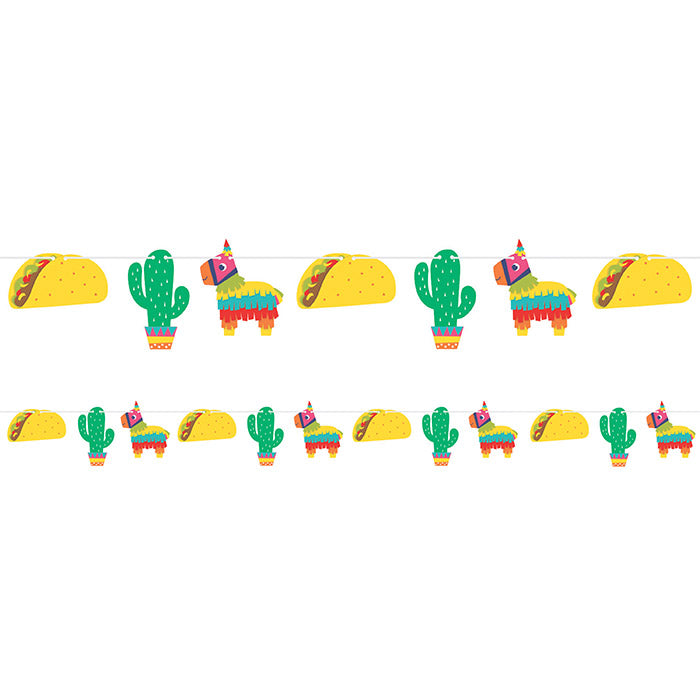 Fiesta Fun Shaped Banner With Twine, Icons by Creative Converting