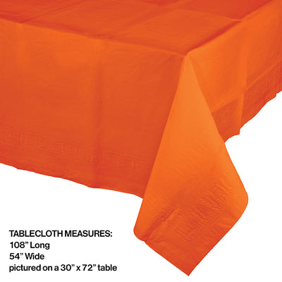 "Sunkissed Orange Tablecover 54""X 108"" Polylined Tissue Party Decoration"