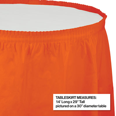 "Sunkissed Orange Plastic Tableskirt, 14' X 29"" Party Decoration"
