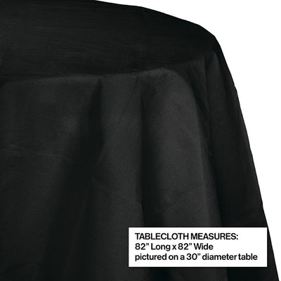"Black Velvet Tablecover, Octy Round 82"" Polylined Tissue Party Decoration"