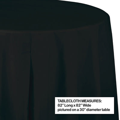 "Black Velvet Tablecover, Octy Round 82"" Plastic Party Decoration"