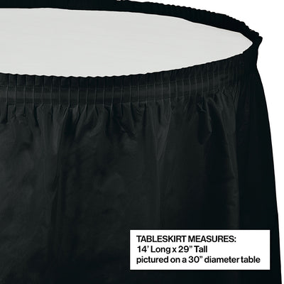 "Black Velvet Plastic Tableskirt, 14' X 29"" Party Decoration"