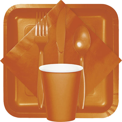 Pumpkin Spice Orange Plastic Forks, 24 ct Party Supplies