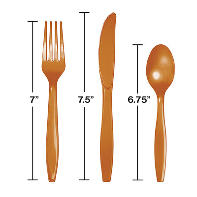 Pumpkin Spice Orange Assorted Plastic Cutlery, 24 ct Party Decoration