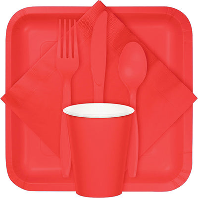 Coral Assorted Plastic Cutlery, 24 ct Party Supplies