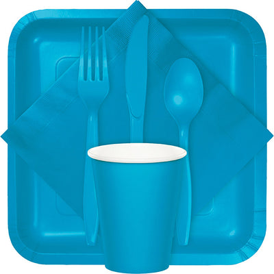 Turquoise Blue Assorted Plastic Cutlery, 24 ct Party Supplies