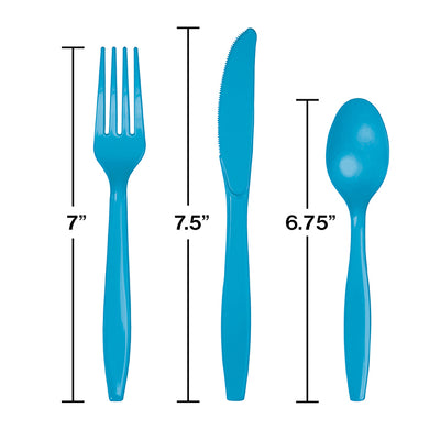 Turquoise Blue Assorted Plastic Cutlery, 24 ct Party Decoration