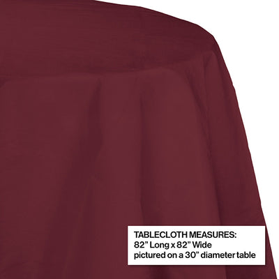 "Burgundy Tablecover, Octy Round 82"" Polylined Tissue Party Decoration"