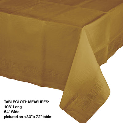 "Glittering Gold Tablecover Plastic 54"" X 108"" Party Decoration"