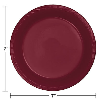 Burgundy Red Plastic Dessert Plates, 20 ct Party Decoration