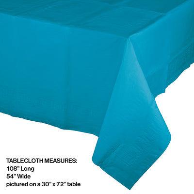 "Turquoise Tablecover 54""X 108"" Polylined Tissue Party Decoration"