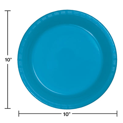 Turquoise Blue Plastic Banquet Plates, 20 ct Party Decoration