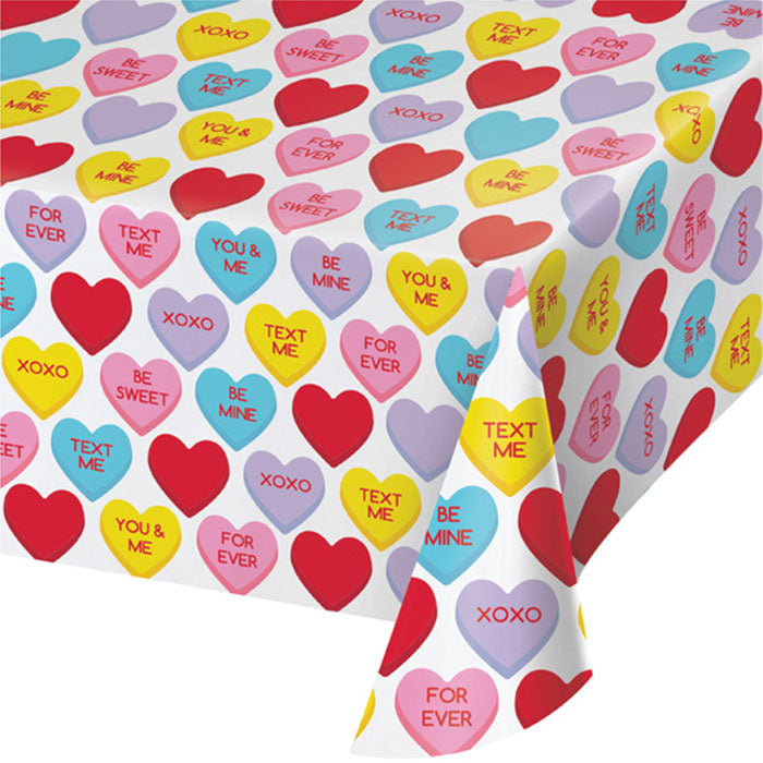Candy Hearts Valentine's Day Plastic Tablecloth by Creative Converting