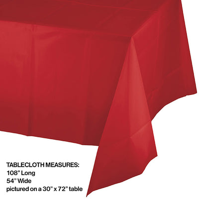 "Classic Red Tablecover Plastic 54"" X 108"" Party Decoration"