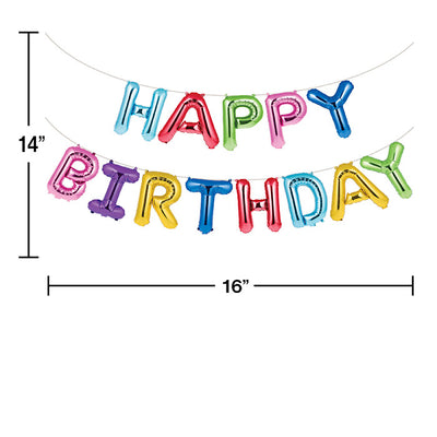 Rainbow Foil Birthday Balloon Banner, 13 ct Party Decoration