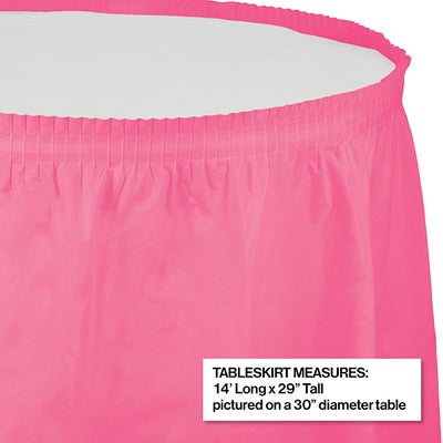 "Candy Pink Plastic Tableskirt, 14' X 29"" Party Decoration"
