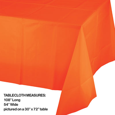 "Sunkissed Orange Tablecover Plastic 54"" X 108"" Party Decoration"