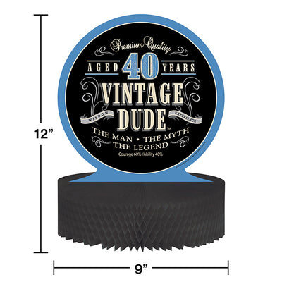 Vintage Dude 40th Birthday Centerpiece Party Decoration