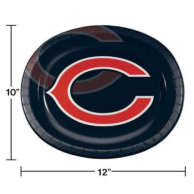 "Chicago Bears Oval Platter 10"" X 12"", 8 ct Party Decoration"