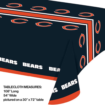 "Chicago Bears Plastic Tablecloth, 54"" X 108"" Party Decoration"