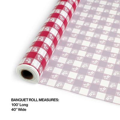 "Red Gingham Banquet Roll 40"" X 100' Party Decoration"