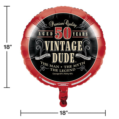 "Vintage Dude Metallic Balloon 18"", '50 Party Decoration"