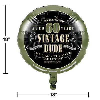 "Vintage Dude Metallic Balloon 18"", '60 Party Decoration"