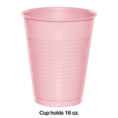 Classic Pink Plastic Cups, 20 ct Party Decoration