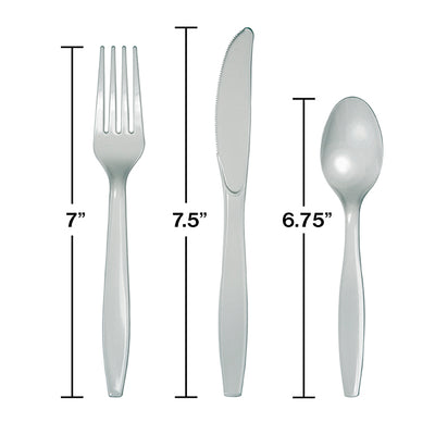 Shimmering Silver Assorted Plastic Cutlery, 24 ct Party Decoration