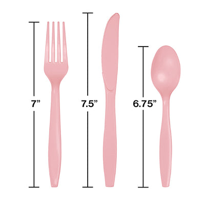 Classic Pink Assorted Plastic Cutlery, 24 ct Party Decoration