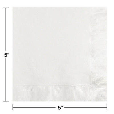 White Beverage Napkin 2Ply, 50 ct Party Decoration