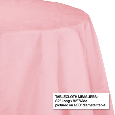 "Classic Pink Tablecover, Octy Round 82"" Polylined Tissue Party Decoration"